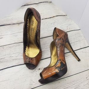 LULU TOWNSEND BROWN SNAKE SHOES